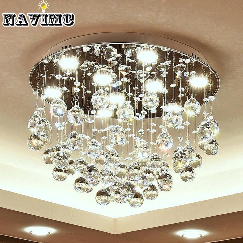 Modern K9 Crystal Led Ceiling Lights for Bed Room Living Kitchen Foyer Round Lighting Lamp Hallway