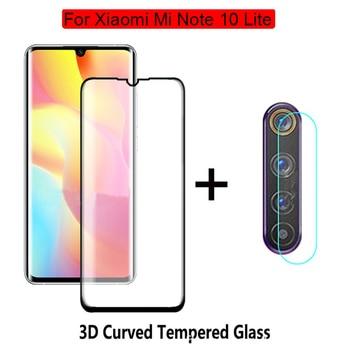 Перейти на Алиэкспресс и купить 2в1 камера + защита экрана закаленное стекло для Xiaomi Mi Note 10 Lite стеклянная пленка изогнутое стекло для Mi Note 10 Lite пленка
