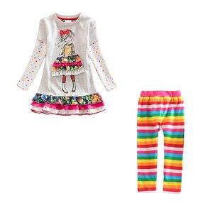 Image 4 - Meninas conjuntos de roupas meninas roupas até o joelho vestido + leggings crianças roupas ternos padrão estampado vestidos + calças ternos 3 8y
