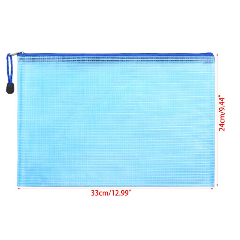 A4 Size Mesh Document File Bags Storage Pouch With Zipper For Cosmetics Offices J6PA