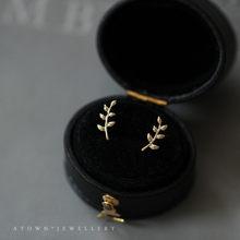 925 estilo europeu para mujer, aretes de 14k para mujer, hoja de rama de olivo sencilla, joyer