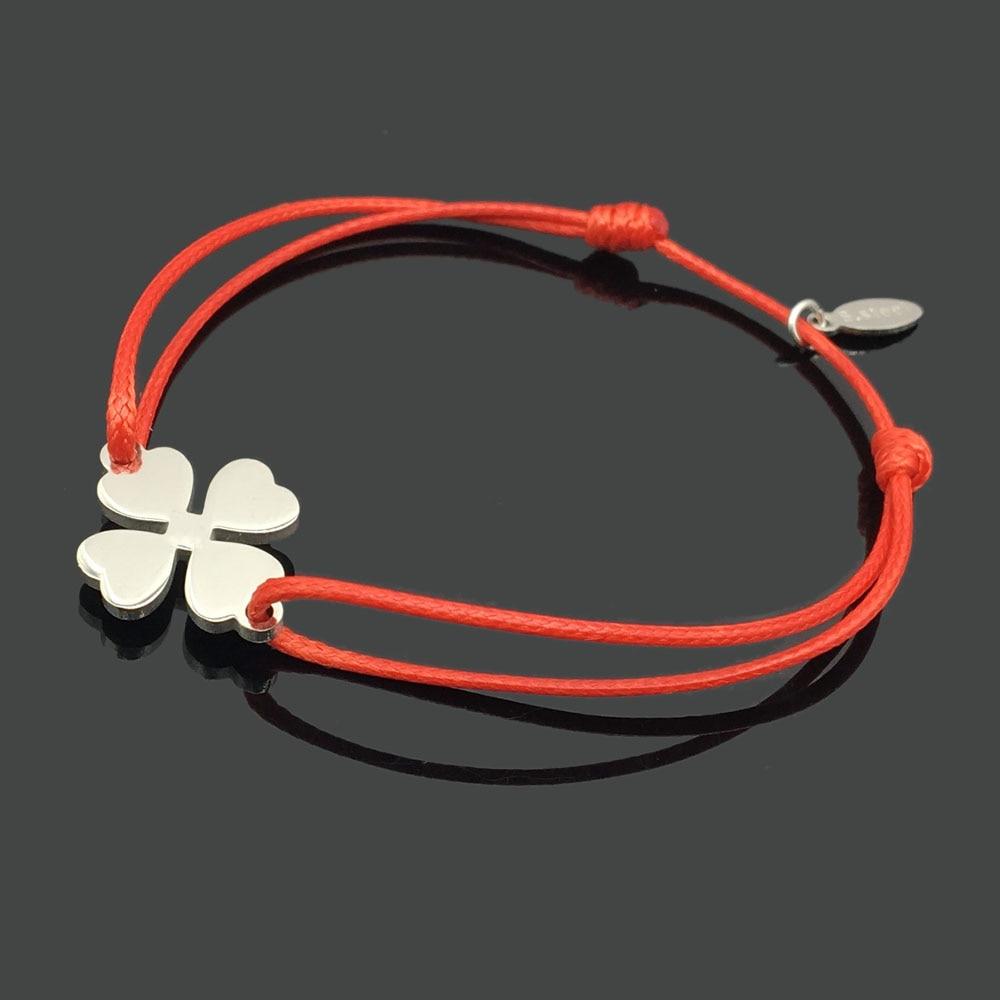 2 шт браслет желаний из нержавеющей стали, регулируемый шнур, хороший браслет, приносящий удачу, красный браслет дружбы - Окраска металла: stainless clover
