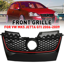 Car Red Strip Front Center Grille Bumper Grill with Red Border For VW for Jetta GTI MK5 2006 2007 2008 2009