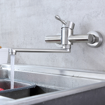 Wall Mounted Kitchen Faucet 360 Degree Swivel Dual Hole Stainless Steel Vegetable Basin Faucet Hot Cold Water Mixer Mop Pool Tap