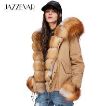 JAZZEVAR 2019 Nova Moda feminina de Luxo Grande Gola de Pele De Raposa Real Manguito Com Capuz Casaco Curto Outwear Parkas Jaqueta de Inverno