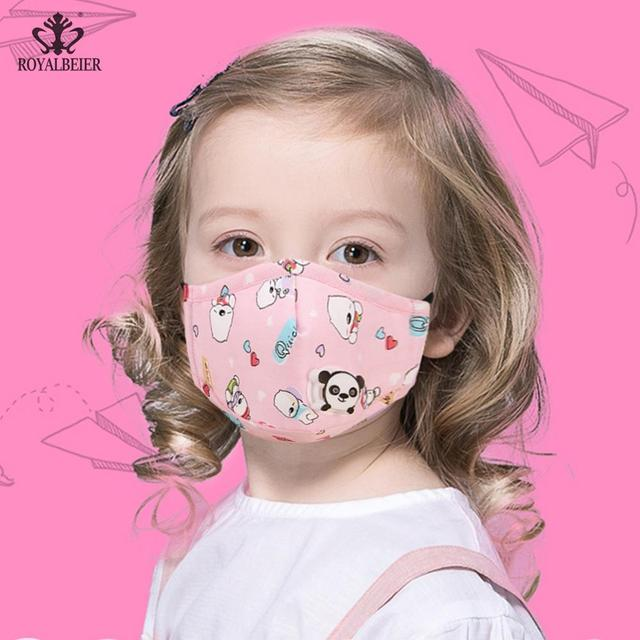 Lovely Kids Children Anti Haze Dust Mask PM2.5 Washable Muffle Bacteria Flu Nose Filter Face Respirator With Valve 1