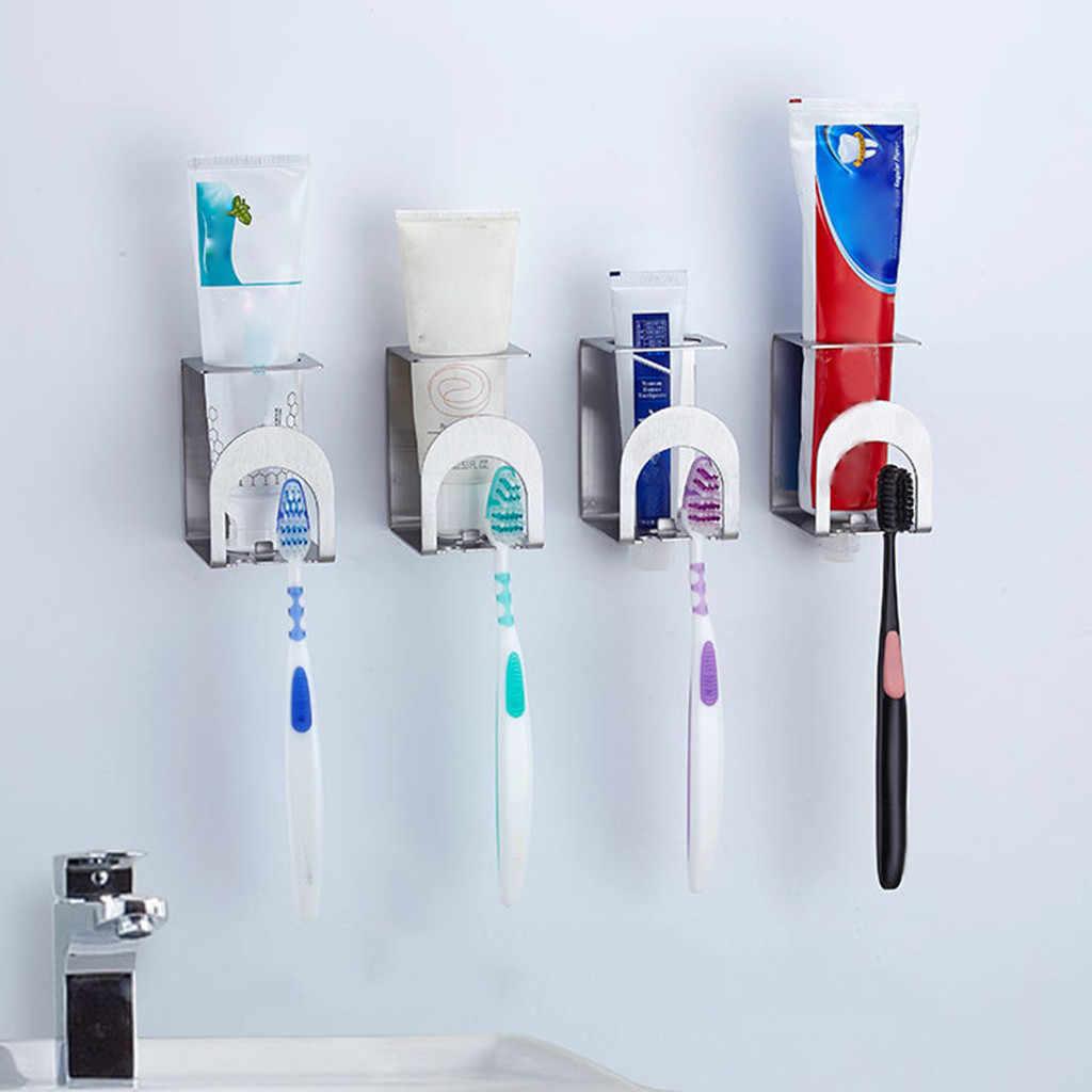נירוסטה משחת שיניים Dispenser מברשת שיניים בעל להגדיר קיר הר Stand מחזיק אוטומטי מסחטות Dispenser בית אמבטיה