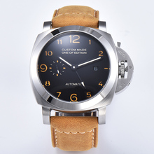 44mm Automatic Mechanical Watch Men GMT Wrist Leather Strap
