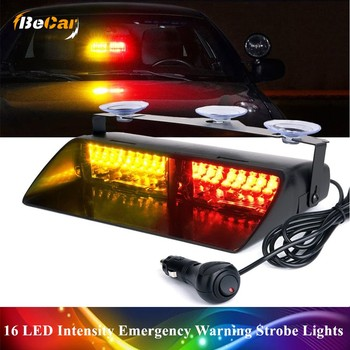 White Blue 16 LED High Intensity Emergency Hazard Warning Strobe Lights Suction Cups for Police Law Enforcement Vehicles Truck