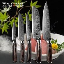 XITUO 5 adet mutfak bıçakları setleri japon şam çelik desen şef bıçağı Santoku Cleaver soyma dilimleme programı balık aracı hediye