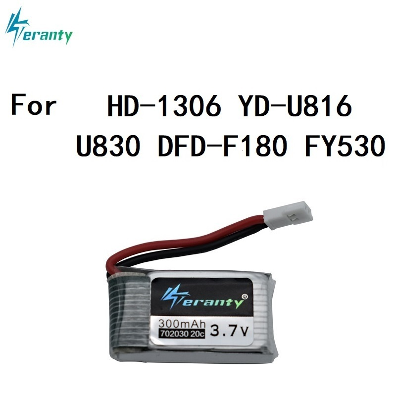 <font><b>3.7V</b></font> <font><b>300mAh</b></font> 702030 <font><b>lipo</b></font> <font><b>battery</b></font> For E55 FQ777 FQ17W DFD F180 FY530 U816 U830 <font><b>3.7v</b></font> <font><b>Battery</b></font> For RC Quadcopter Spare Part image