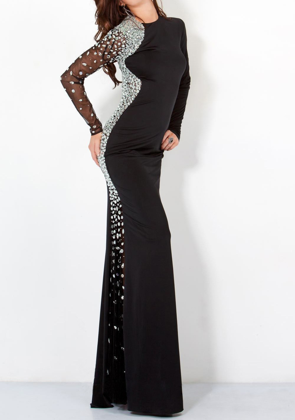100% Beading Handwork Backless Long Sleeve Black Evening Dresses OL102100