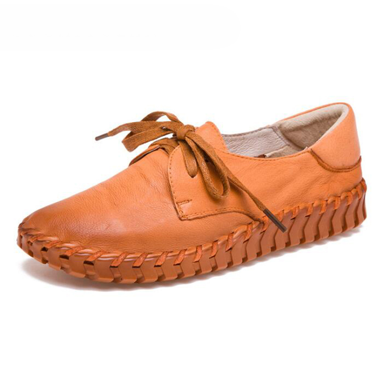 Women's Shoes Made Of Genuine Leather Large Size 4.5-9 Slip-on Flat Shoes Women Damping Non-slip Flat Shoes 2020 News