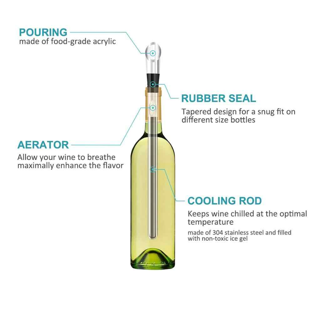 3-in-1 Stainless Steel Wine Bottle Cooler Stick,Rapid Iceless Wine Chilling Rod with Aerator and Pourer SOSPIRO Ice Wine Stick,Wine Chiller 29 cm