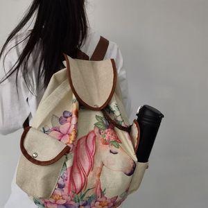 Image 3 - Miyahouse Unicorn מודפס נסיעות תיק נשים בד תרמיל באיכות גבוהה שרוך פשתן חומר המוצ ילה תרמיל