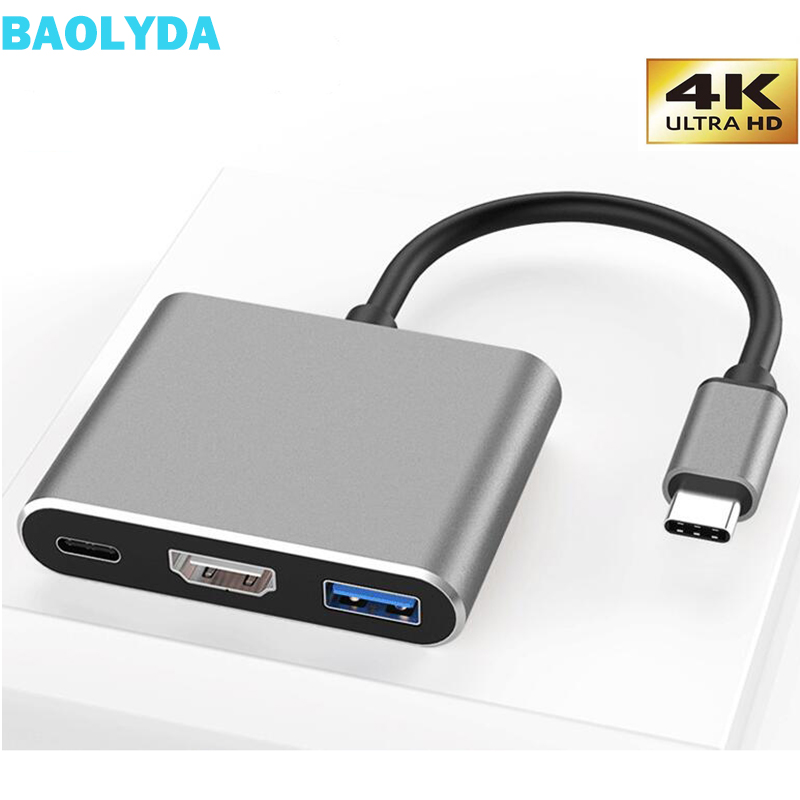 Baolyda USB C Dock USBC HDMI Hub Thunderbolt 3 USB 3.1 Type C To HDMI VGA 4K Adapter For Mac Book Mate Book Chromebook Samsung