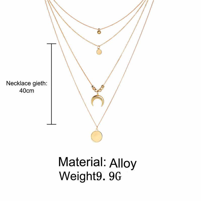 Bohème mode collier personnalité multi-couche lune disque pendentif dames collier or