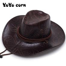 YOYOCORN Pu leder männer der Amerikanischen wind großen westlichen cowboy hut damen ritter hut im freien visier unisex atmungsaktive mütze cheap Faux-Leder CN (Herkunft) Erwachsene Cowboyhut