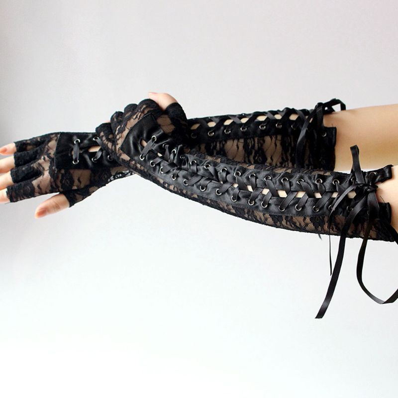 Women Women Sexy Floral Lace Elbow Length Half-Finger Gloves Black String Ribbon Ties Up Disco Dance Party Fingerless Fishnet