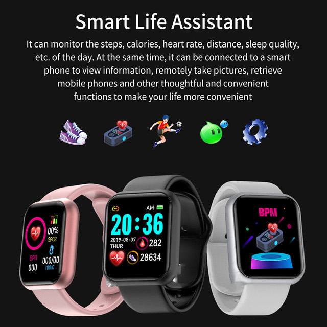 New Smart Watch for IOS/Android Unisex Watches / Sunglasses / Caps color: Black|Black Sliver|Pink|White