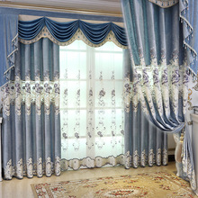 European luxury embroidered high quality curtains for Living Room Royal Custom Window Bedroom /Kitchen