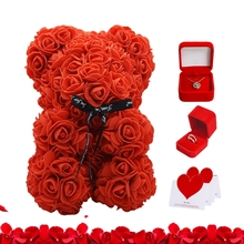 Rose Bear Necklace Rings Gift Box Set Trendy Jewelry Case Valentine's Day Gift