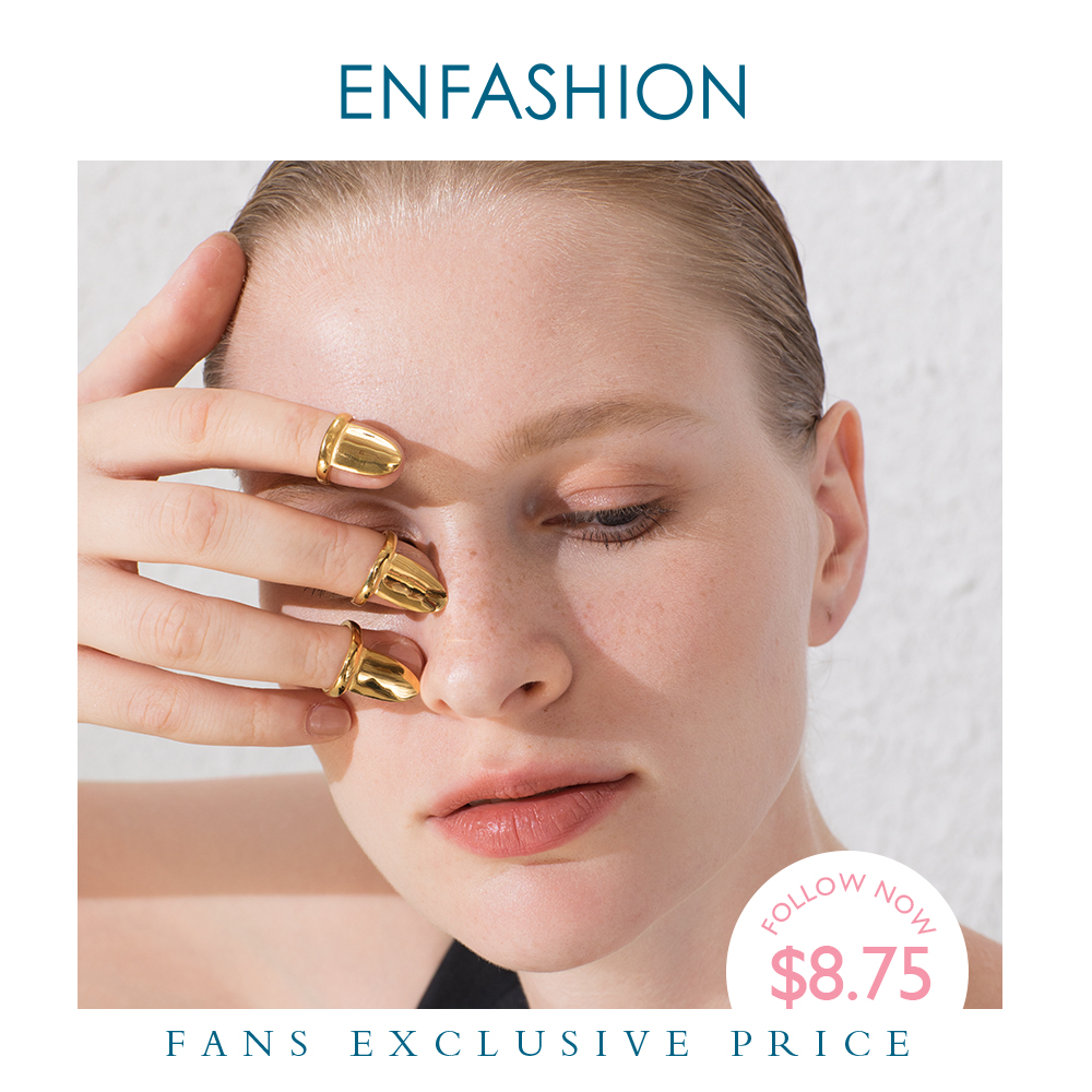 ENFASHION Punk Blank Nail Ring Stainless Steel Simple Finger Rings For Women Accessories Minimalist Fashion Jewelry Gift R194021