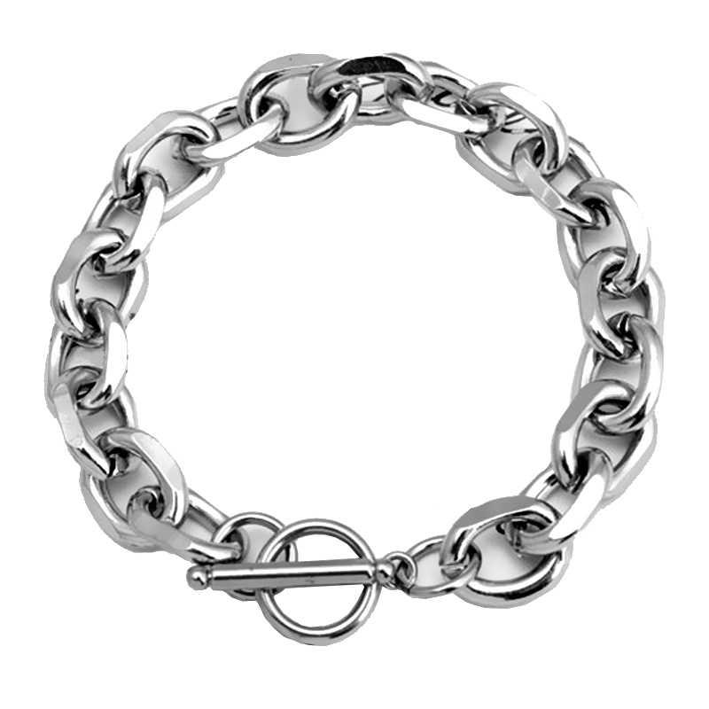 Mcllroy ze stali nierdzewnej kubański Chain Link bransoletki dla kobiet męskie bransoletki 2019 Hip hop Punk Rock mężczyzn biżuteria pulsera hombre