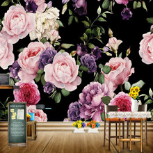 Jointless personalizado 3D foto papel tapiz Mural pintado a mano Rosa peonia flor Mural de pared sala de estar decoración del hogar pintura papel de pared(China)