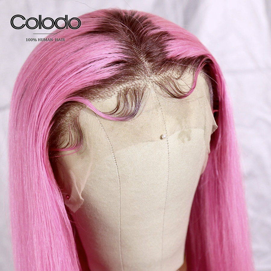 COLODO Pink Human Hair Wig Pre Plucked Straight Ombre Lace Front Wig With Natural Hairline Brazilian Remy Colored Wigs For Women
