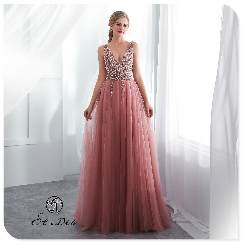 S.T.DES Evening Dress 2020 New Arrival Beading A-line V-Neck Pink Sleeveless Designer Floor Length Party Dress Dinner Gowns