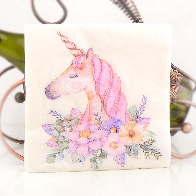 Unicorn Multi-color Printed Napkin Pink Dining Mat For Hotel Evening Paper 20 Wood Pulp Napkin
