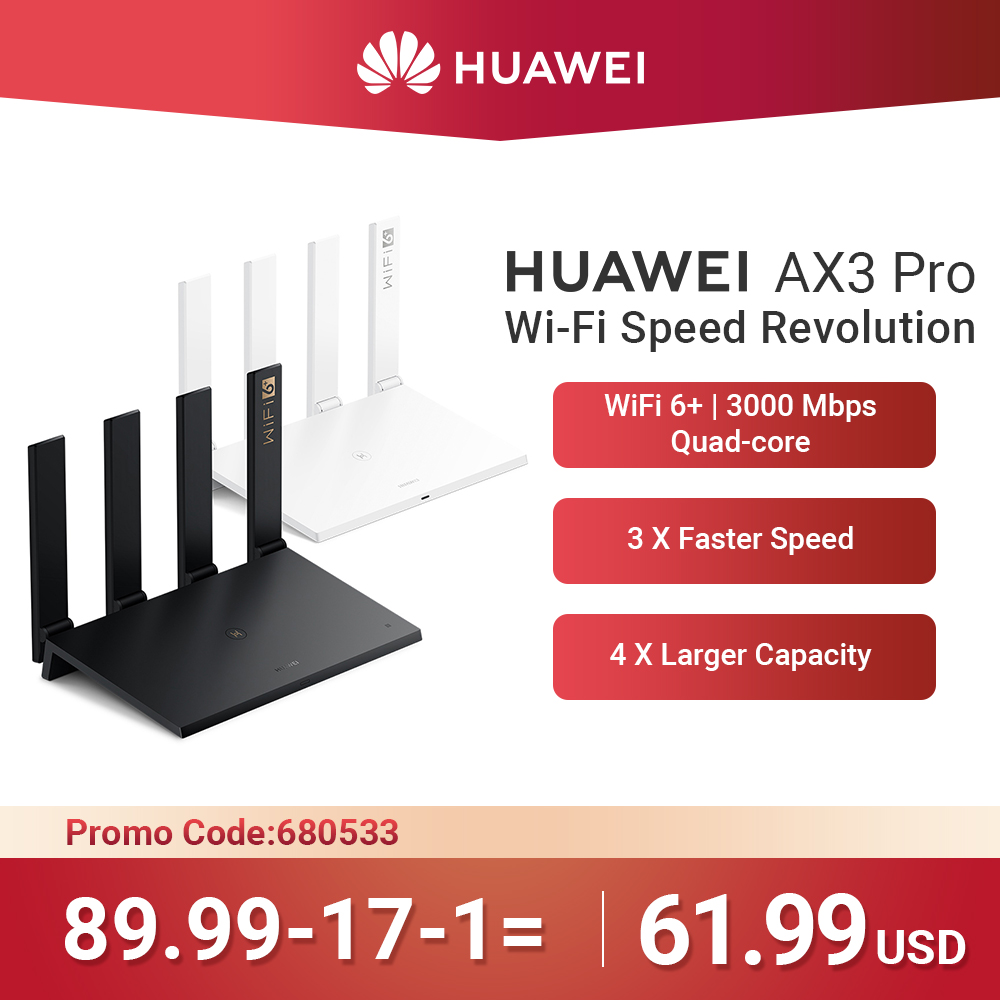 WiFi Speed Revolution HUAWEI AX3 Pro Router Quad Core WiFi 6 + Router 3000 Mbps Quad Core Tap to connect Easy Set up(China)