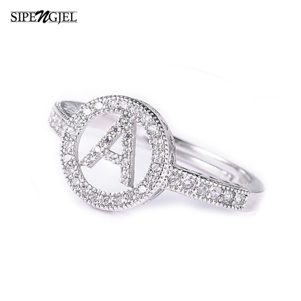 fashion mosaic cubic Zirconia Crystal Alphabet Letter Rings silver color Adjustable rings For Women Korean Jewelry 1