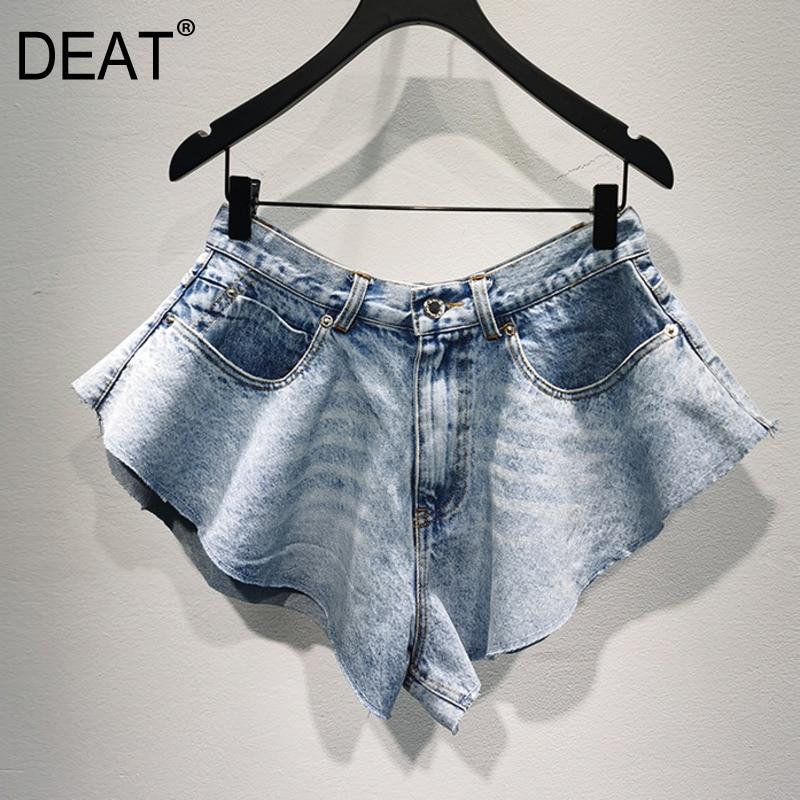 DEAT 2020 New Summer Fashion Women Clothing High Waist Vintage Cut Tassels Shorts Denim WL25705L Tide Sexy Girl's Clothing
