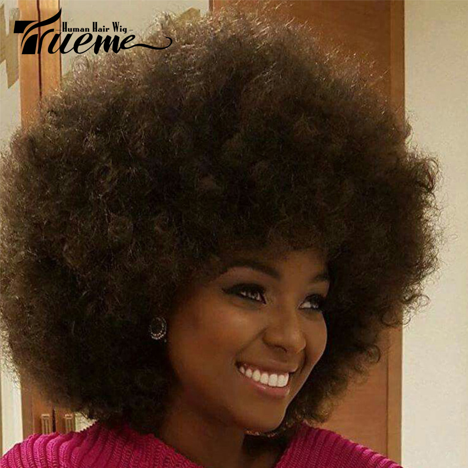 Trueme Afro Curly Human Hair Wigs Brown Red Blonde Brazilian Short Hair Wigs For Black Women Afro Curly Short Full Wigs