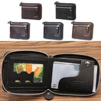 Fashion Men Faux Leather Mini Wallet ID Card Key Holder Zip Coin Purse Bag Pouch