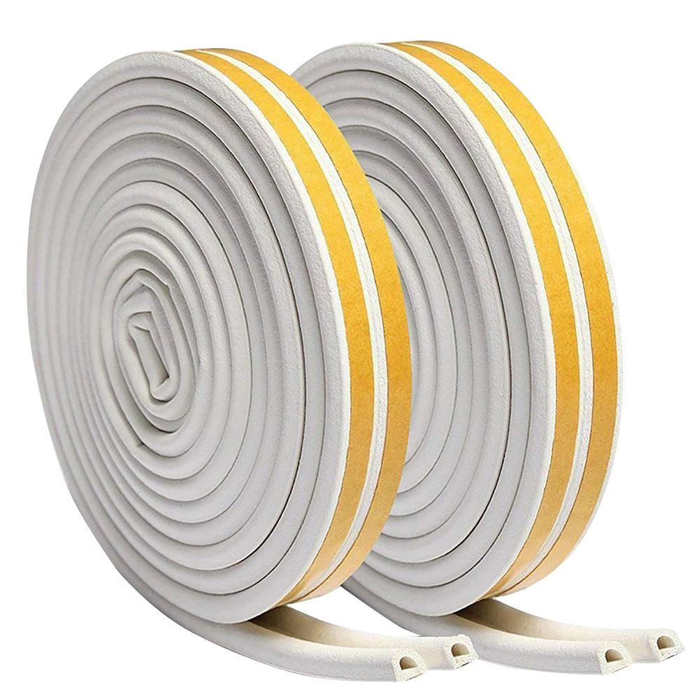 5M/6M Self-Adhesive D Type Doors Windows Foam Seal Strip Soundproofing Collision Avoidance Rubber Sealing Strips Sticker