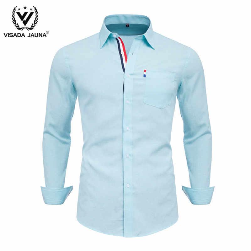 Visada Juana Pria Shirt 100% Katun 2019 Musim Semi Musim Gugur Kasual Lengan Panjang Lembut Comfort Slim Fit Gaya Merek Pria plus Ukuran