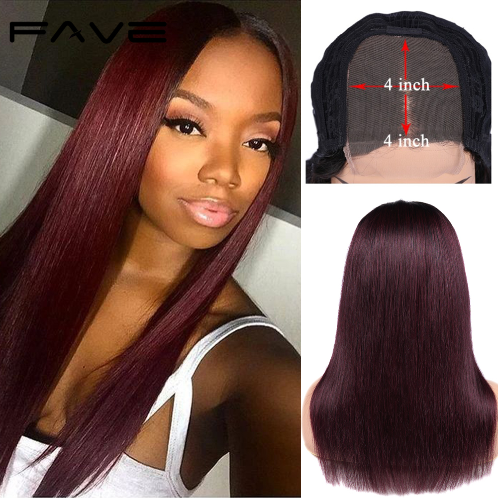 FAVE 1B/99j Ombre Color Wig 4x4 Lace Closure Wigs Brazilian Human Hair Wig 150% Pre Plucked Remy Straight Lace Wig Free Shipping