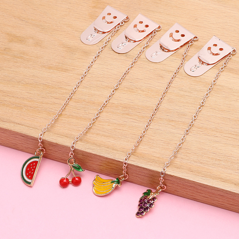 Fortune Stationery Metal Bookmark Baking Varnish Fruit Cartoon Series PDA Decoration Students Cute Bookmark New Products Wholesa