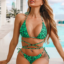 In-X, Леопардовый купальник, женский сексуальный купальник на шнуровке, бикини, 2020, купальник с высокой посадкой, женская летняя купальная оде... 4