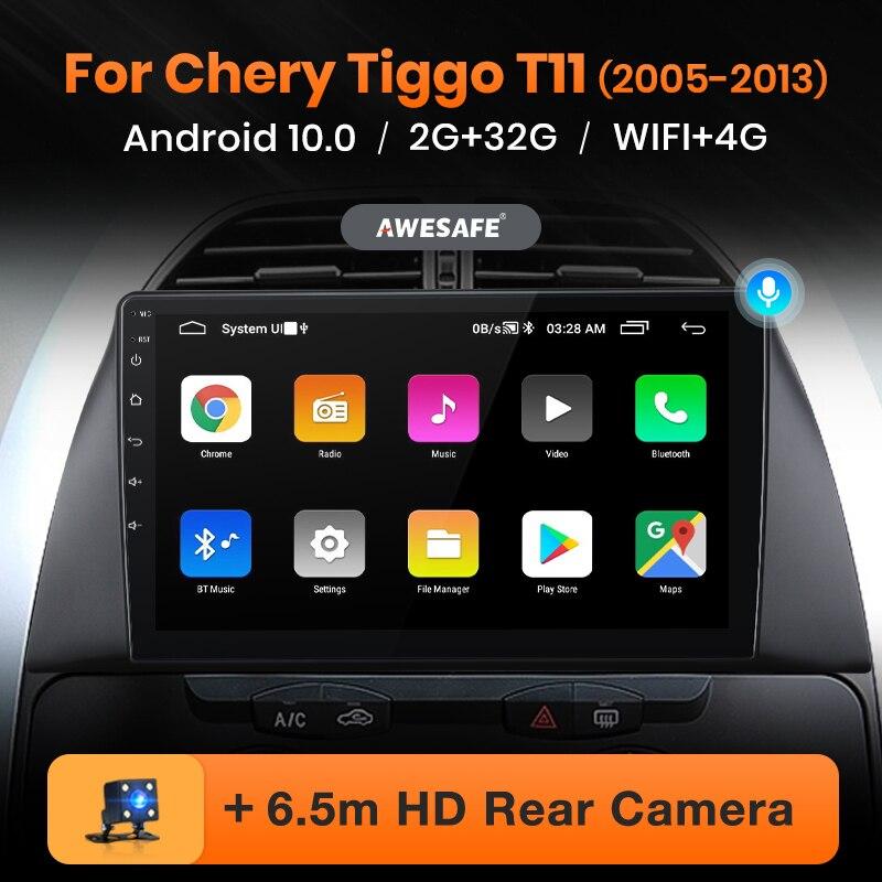 Reprodutor de vídeo multimídia gps 4g wifi 2 din android 2005 2gb + 32gb awesafe px9 para chery tiggo t11 1 2013-10.0 rádio do carro