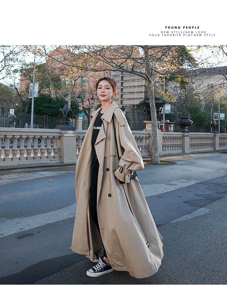 Hfada7853f64b47c2859d80069d30b065M Korean Style Loose Oversized X-Long Women's Trench Coat Double-Breasted Belted Lady Cloak Windbreaker Spring Fall Outerwear Grey