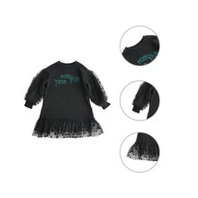 Get more info on the Children Spring Autumn Girls Cute Dot Embroidery Mesh Stitching Round Collar Princess Long-Sleeved Sweet Dress