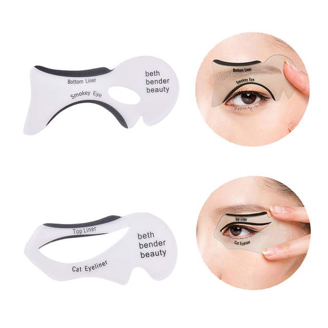 2Pcs Eyeliner Stencils Winged Eyeliner Stencil Models Template Shaping Tools Eyebrows Template Card Eye Shadow Makeup Tool 1
