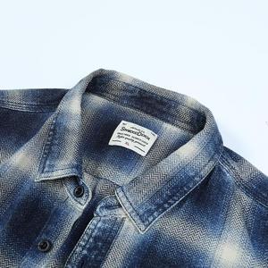 Image 3 - SIMWOOD 2020 spring Winter New Double Chest Pockets Plaid Shirts Men Indigo Shirt 100% Cotton Plus Size Clothes 190472