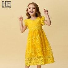 HE Hello Enjoy-ropa de encaje para niños, vestidos infantiles de princesa para niñas, Vestido informal de 3 a 8 años, bata Fille 2020