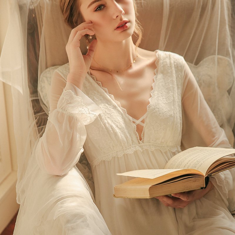 Ladies Nightgown Lace Long Nightdress Vintage Woman  Lace Sleeve Summer Nightgowns Dress INS Fashion Sleepwear Fairy