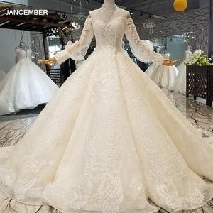 Image 1 - LS354711 Bá Tước Tàu Công Chúa Váy Áo 2018 Sweetheart Tay Dài Bầu Áo Cưới Mua Trực Tiếp Блестящее Платье